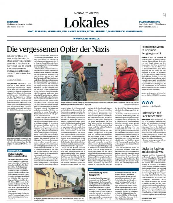 Trierischer Volksfreund 17.5.2021